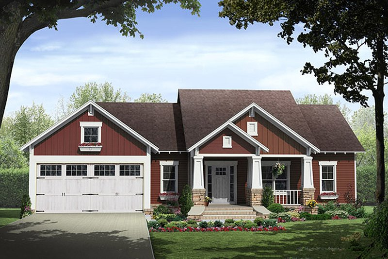 Craftsman Style House Plan - 3 Beds 2 Baths 1801 Sq/Ft Plan #21-382 Exterior - Front Elevation