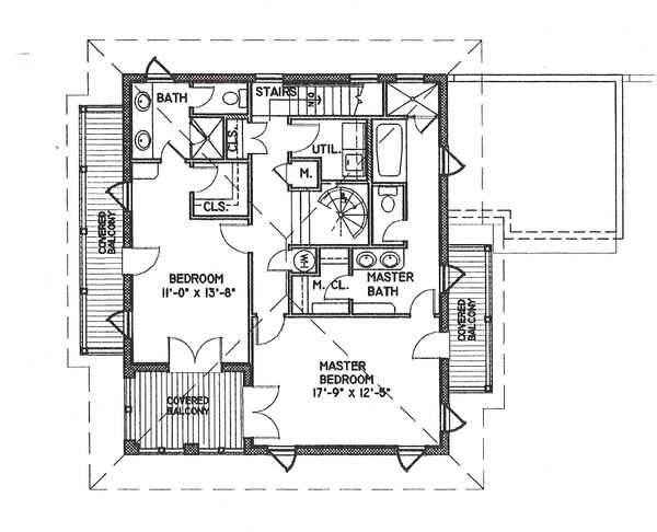 Beach Floor Plan - Upper Floor Plan Plan #536-5