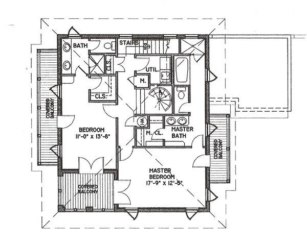 Beach Style House Plan - 3 Beds 4 Baths 2590 Sq/Ft Plan #536-5 Floor Plan - Upper Floor Plan
