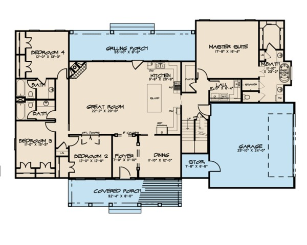 Farmhouse Floor Plan - Main Floor Plan Plan #923-102