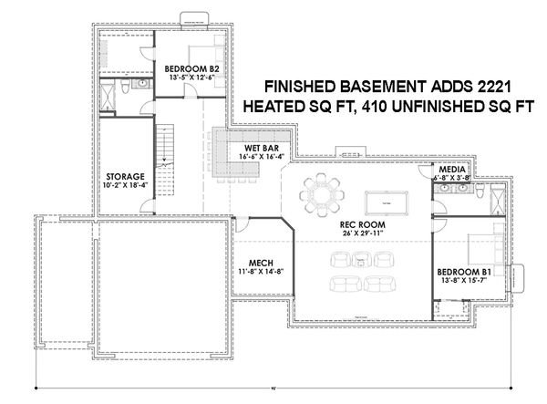 Dream House Plan - Finished Basement Level