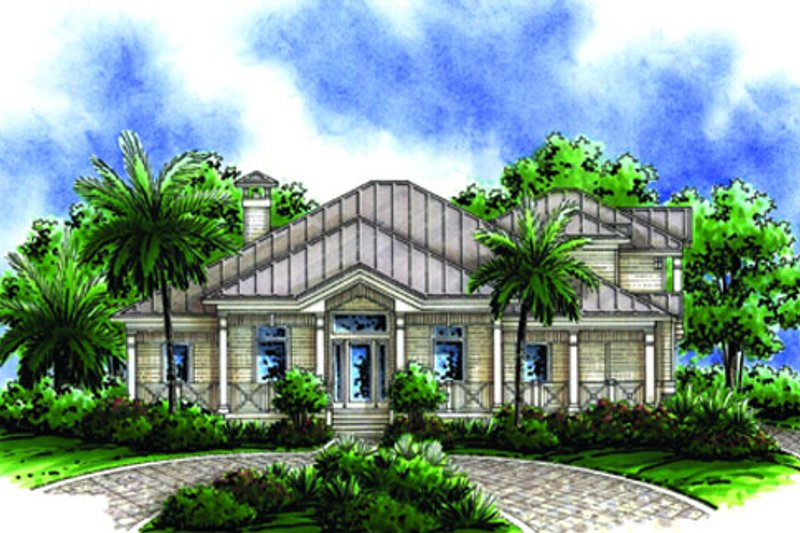 Beach Style House Plan - 4 Beds 3.5 Baths 3020 Sq/Ft Plan #27-446 Exterior - Front Elevation