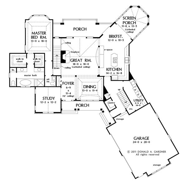 Craftsman Floor Plan - Main Floor Plan Plan #929-26