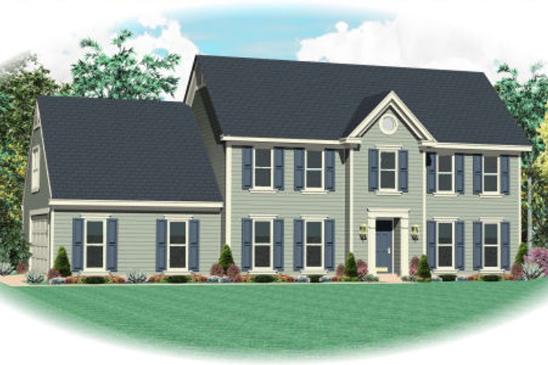 Colonial Style House Plan - 4 Beds 2.5 Baths 2654 Sq/Ft Plan #81-13882 Exterior - Front Elevation