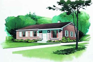 Ranch Exterior - Front Elevation Plan #72-101