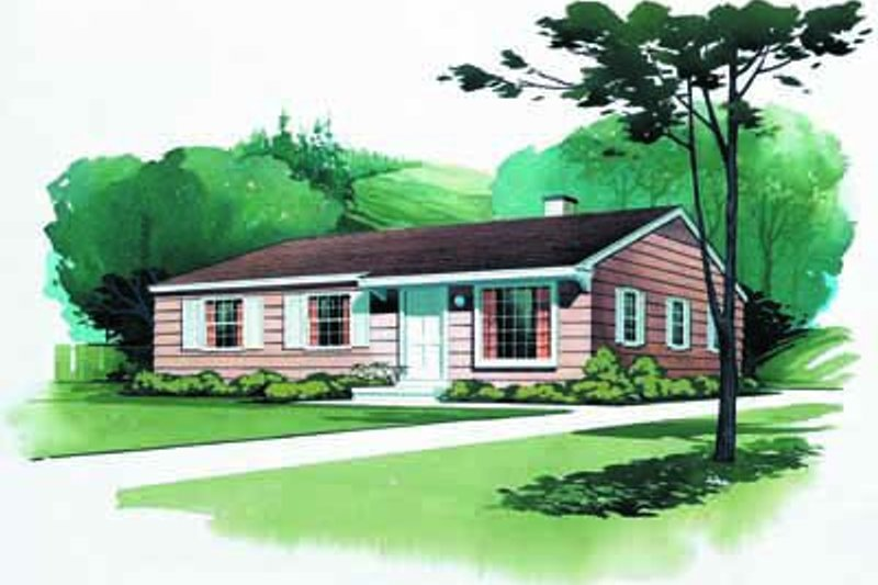 Ranch Style House Plan - 3 Beds 2 Baths 1080 Sq/Ft Plan #72-101 Exterior - Front Elevation