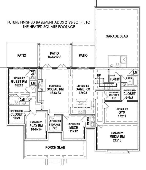 House Design - Farmhouse Floor Plan - Lower Floor Plan #119-434