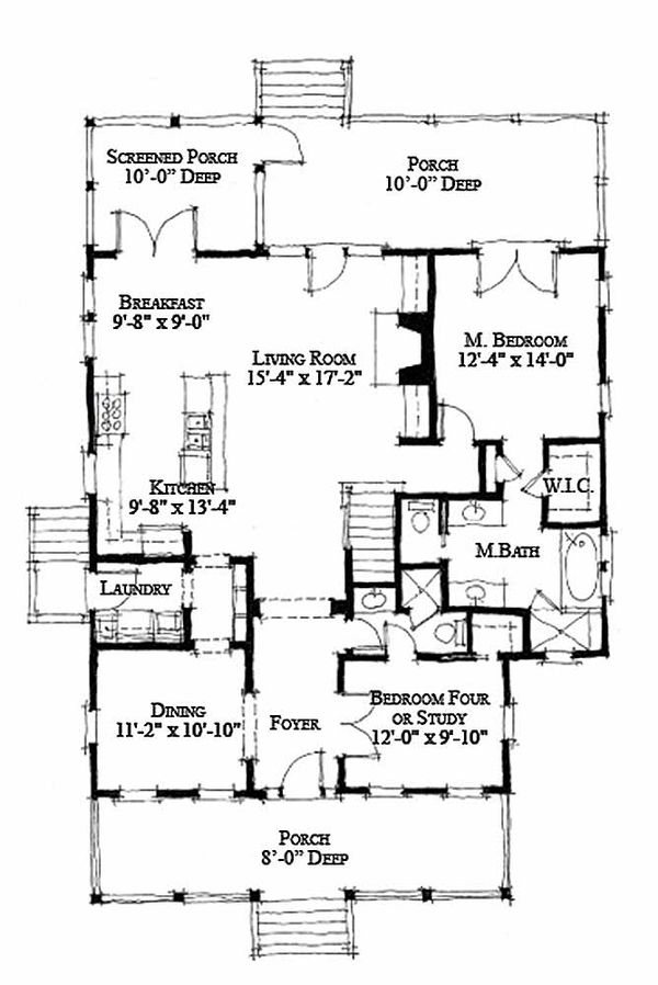 Cottage Style House Plan - 4 Beds 3 Baths 1970 Sq/Ft Plan #464-13 Floor Plan - Main Floor Plan