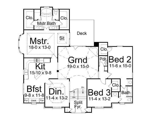 Architectural House Design - Colonial Floor Plan - Main Floor Plan #119-265