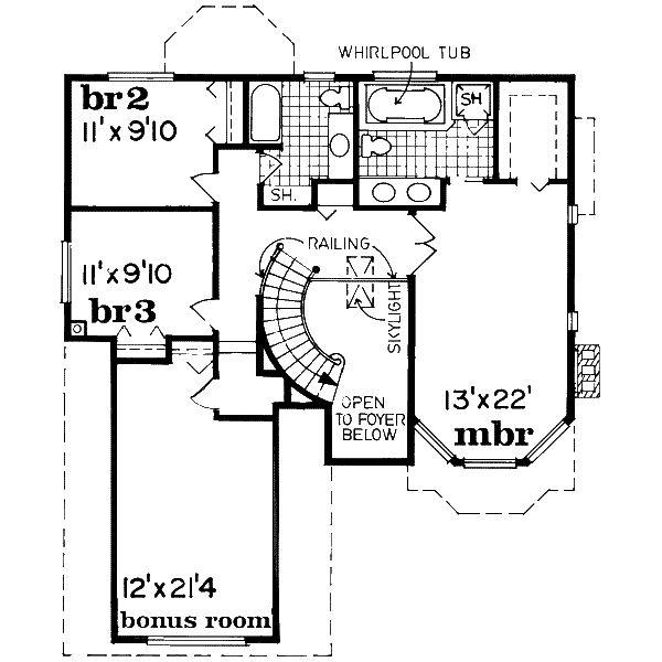 European Floor Plan - Upper Floor Plan Plan #47-577