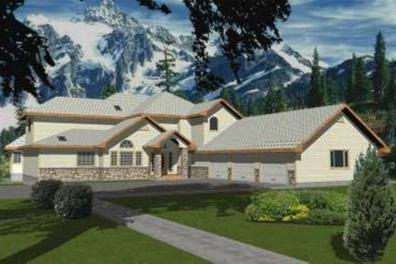 Modern Style House Plan - 5 Beds 4.5 Baths 5241 Sq/Ft Plan #117-430 Exterior - Front Elevation