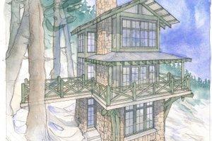 Cabin Exterior - Front Elevation Plan #928-362