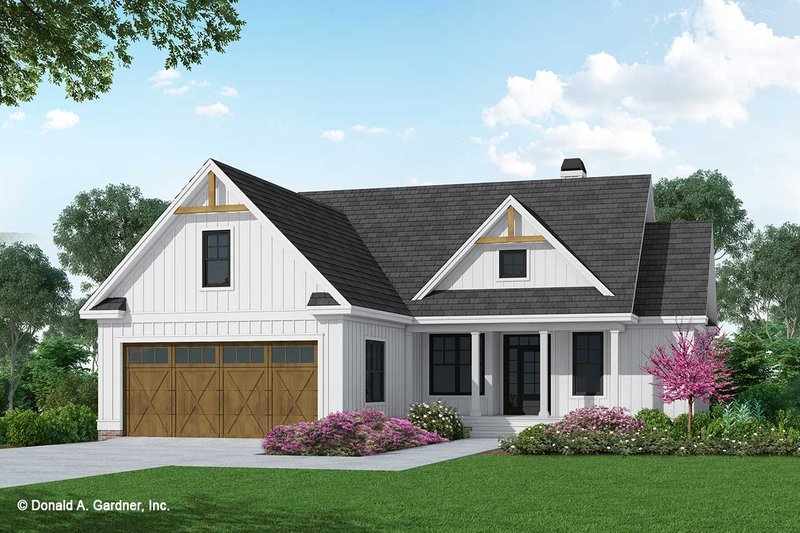 Farmhouse Style House Plan - 3 Beds 2 Baths 1398 Sq/Ft Plan #929-1107 Exterior - Front Elevation