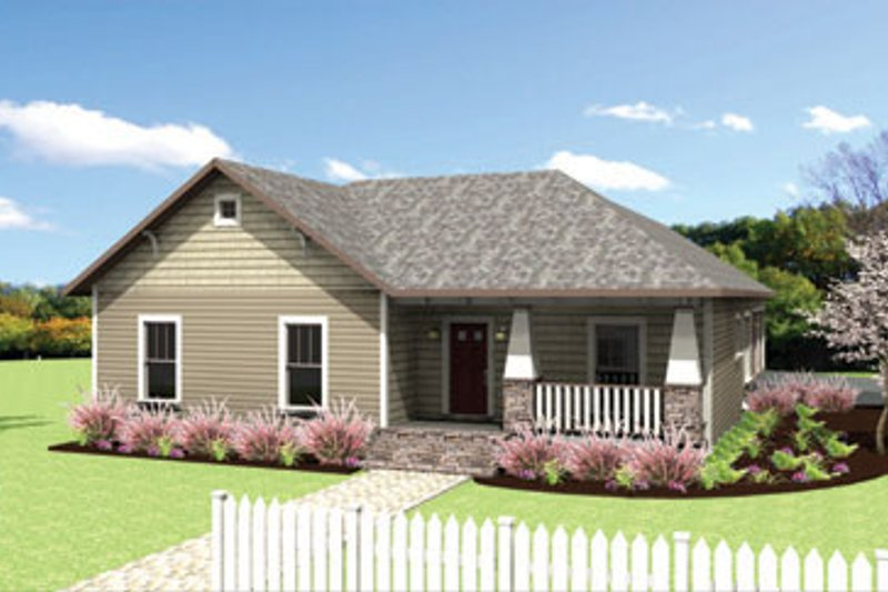 Craftsman Style House Plan - 4 Beds 2 Baths 1612 Sq/Ft Plan #44-179 Exterior - Front Elevation