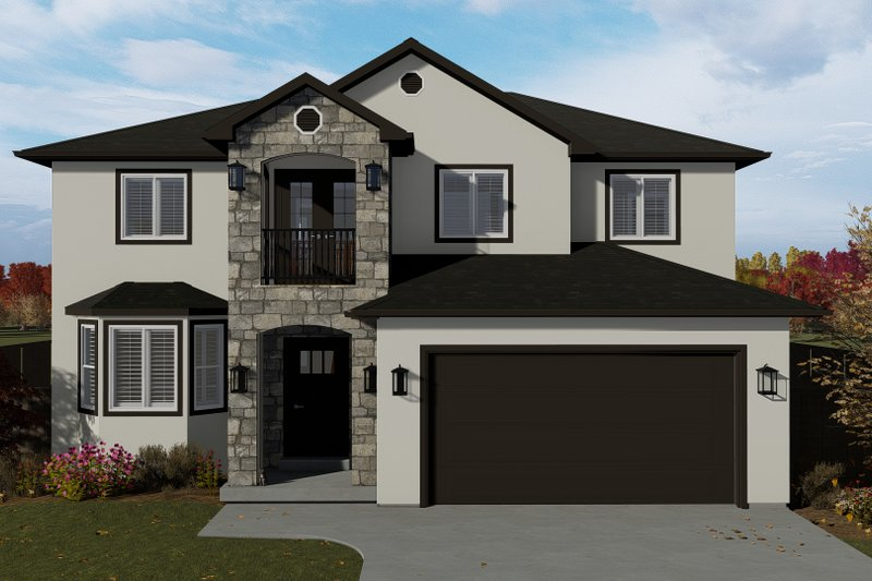 Traditional Style House Plan - 5 Beds 3.5 Baths 3761 Sq/Ft Plan #1060-7 Exterior - Front Elevation