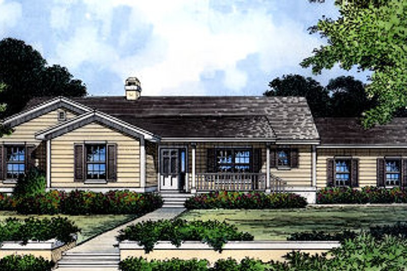 Ranch Style House Plan - 3 Beds 2 Baths 2077 Sq/Ft Plan #417-189 Exterior - Front Elevation