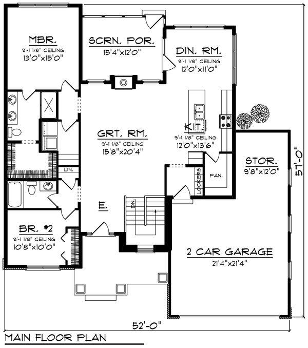 Ranch Floor Plan - Main Floor Plan Plan #70-1237
