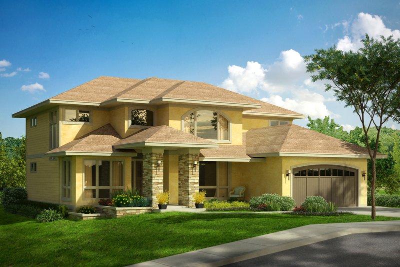 Dream House Plan - Mediterranean Exterior - Front Elevation Plan #124-1016