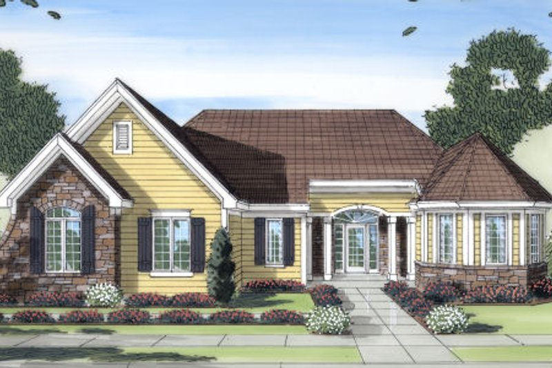Traditional Exterior - Front Elevation Plan #46-430 - Houseplans.com