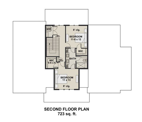Farmhouse Floor Plan - Upper Floor Plan Plan #51-1152