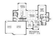 Craftsman Style House Plan - 3 Beds 2.5 Baths 2650 Sq/Ft Plan #1010-234 Floor Plan - Main Floor Plan