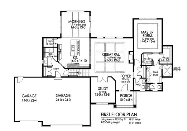 Craftsman Floor Plan - Main Floor Plan Plan #1010-234
