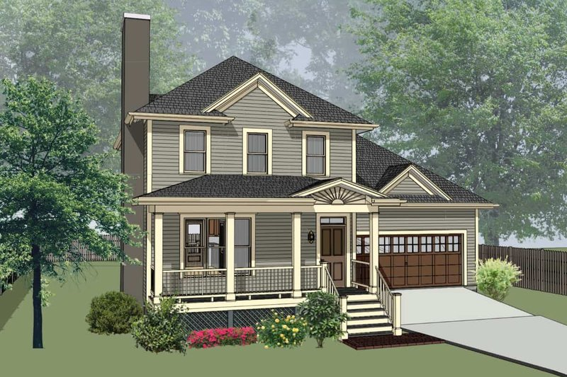 Southern Style House Plan - 3 Beds 2.5 Baths 1280 Sq/Ft Plan #79-168 Exterior - Front Elevation