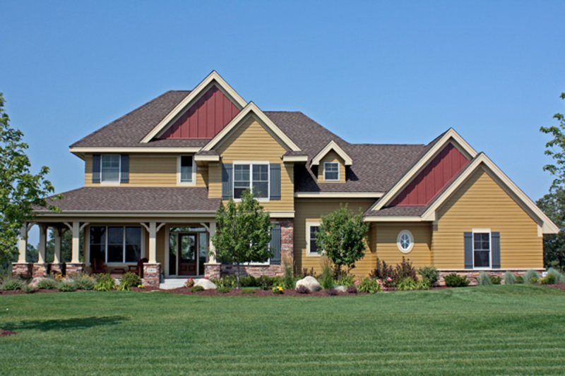 Craftsman Style House Plan - 4 Beds 3.5 Baths 3162 Sq/Ft Plan #51-446 Exterior - Front Elevation