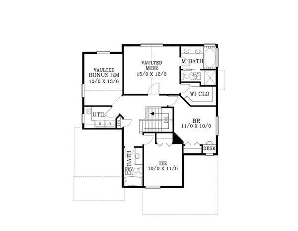 Craftsman Floor Plan - Upper Floor Plan Plan #53-466