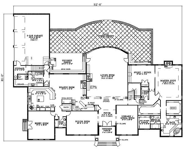 European Floor Plan - Main Floor Plan Plan #17-1177
