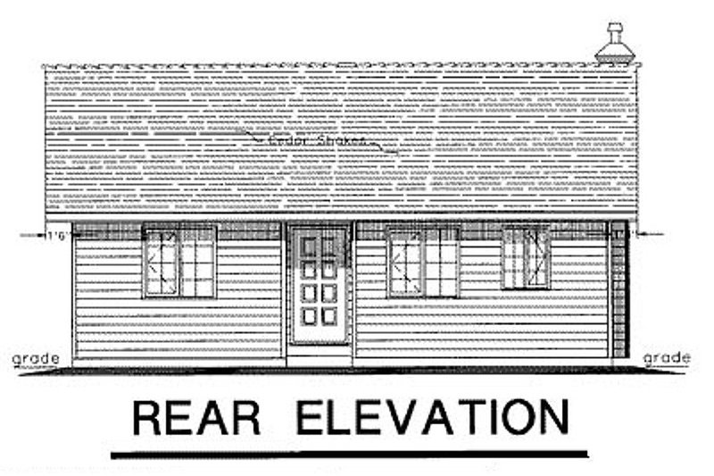 Cabin Exterior - Rear Elevation Plan #18-162 - Houseplans.com