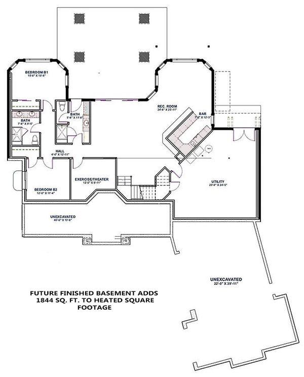 Craftsman Floor Plan - Lower Floor Plan Plan #1069-14