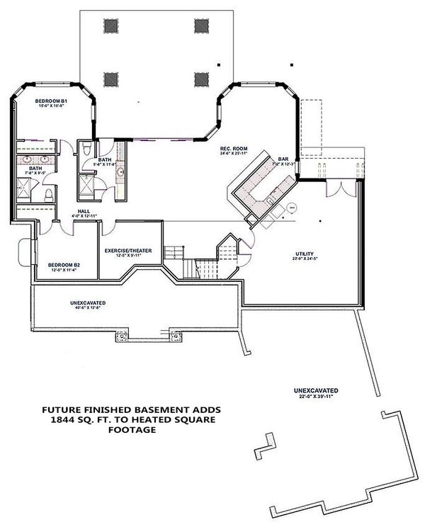 Craftsman Floor Plan - Lower Floor Plan Plan #1069-14