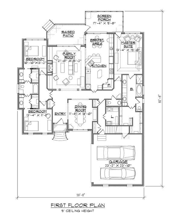 Dream House Plan - Traditional Floor Plan - Main Floor Plan #1054-86