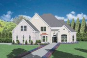 European Style House Plan - 3 Beds 3.5 Baths 3345 Sq/Ft Plan #36-235 Exterior - Front Elevation