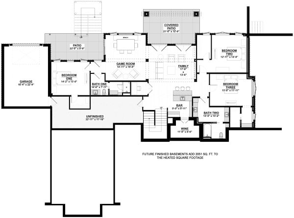 Cottage Floor Plan - Lower Floor Plan Plan #928-336