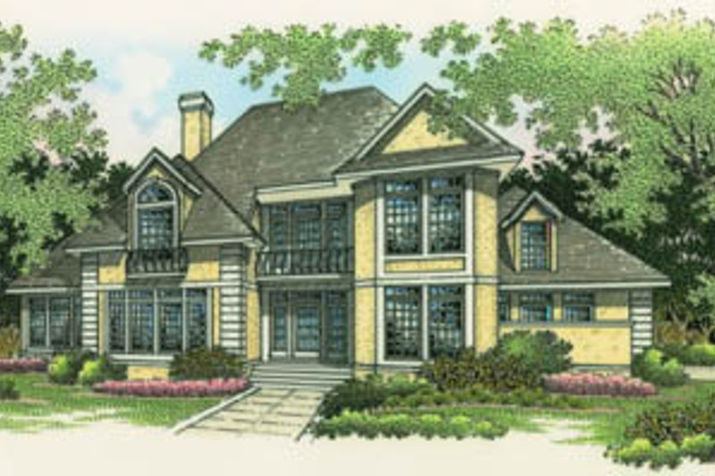 Traditional Style House Plan - 4 Beds 3.5 Baths 2743 Sq/Ft Plan #45-155 Exterior - Front Elevation