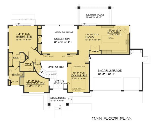 Dream House Plan - Prairie Floor Plan - Main Floor Plan #1066-94