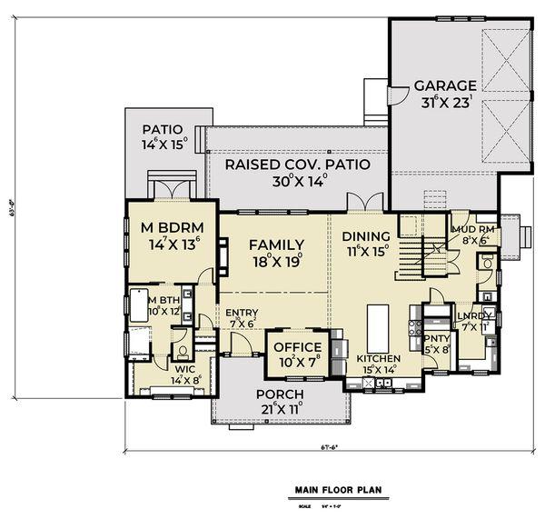 Dream House Plan - Farmhouse Floor Plan - Main Floor Plan #1070-42