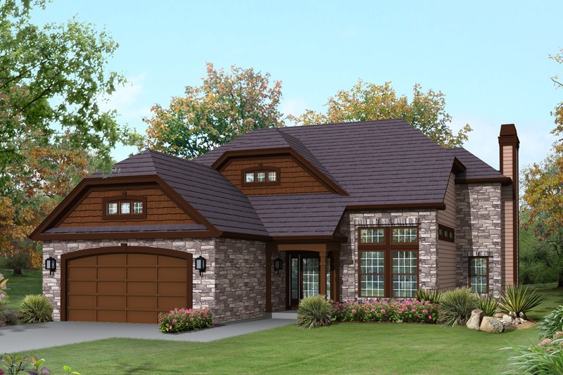 Craftsman Style House Plan - 3 Beds 2.5 Baths 2360 Sq/Ft Plan #57-616 Exterior - Front Elevation