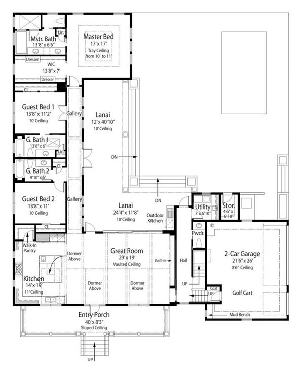 Mediterranean Floor Plan - Main Floor Plan Plan #938-82