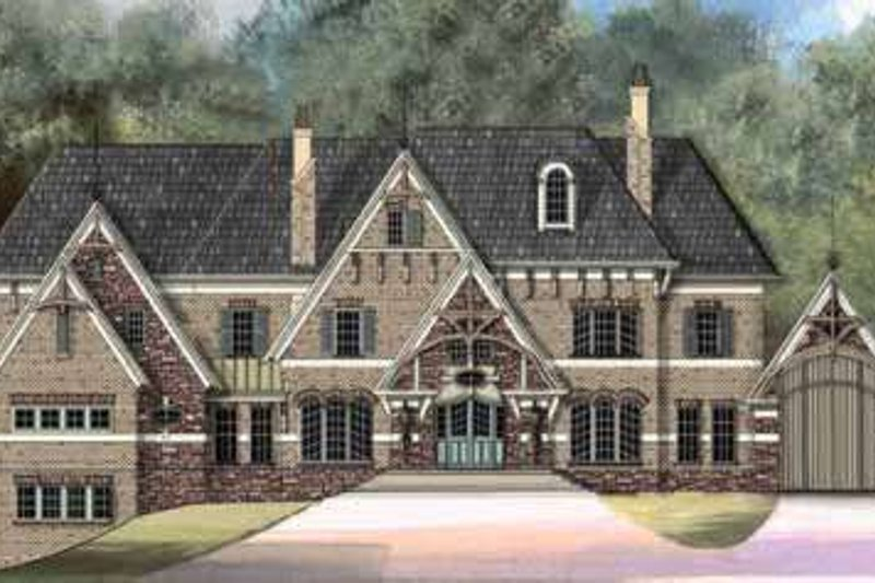 European Style House Plan - 5 Beds 6 Baths 6972 Sq/Ft Plan #119-235 Exterior - Front Elevation
