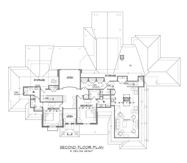 House Plan Design - European Floor Plan - Upper Floor Plan #1054-93