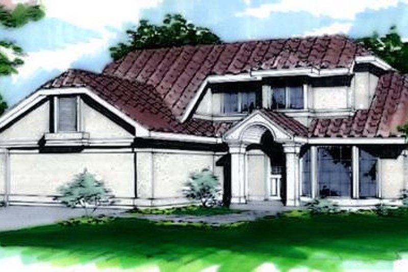 Mediterranean Style House Plan - 2 Beds 2.5 Baths 1575 Sq/Ft Plan #320-435 Exterior - Front Elevation