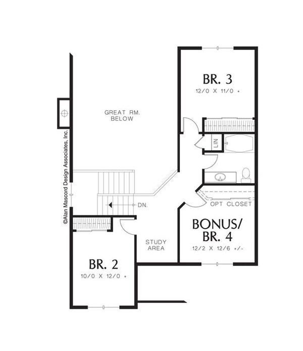 European Floor Plan - Upper Floor Plan Plan #48-535