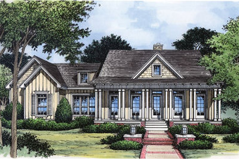 Country Style House Plan - 3 Beds 2 Baths 1963 Sq/Ft Plan #417-174 Exterior - Front Elevation