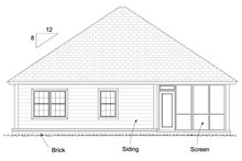 Bungalow Exterior - Rear Elevation Plan #513-2085