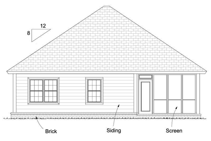 Bungalow Exterior - Rear Elevation Plan #513-2085 - Houseplans.com