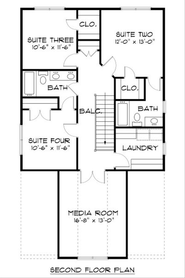 Craftsman Floor Plan - Upper Floor Plan Plan #413-872