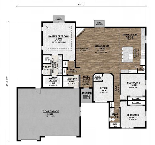 House Plan Design - Ranch Floor Plan - Main Floor Plan #1077-9